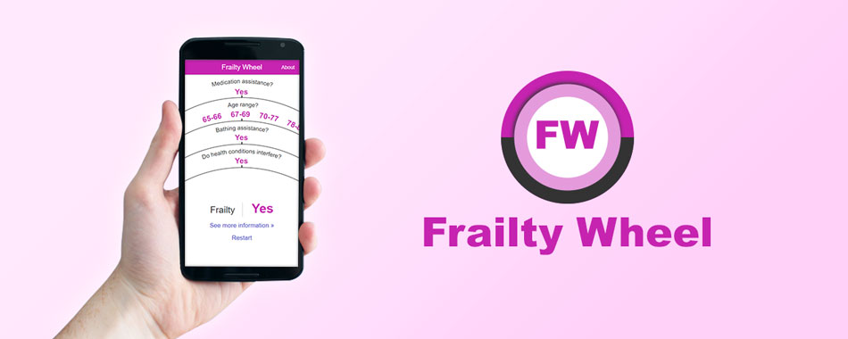 Promotional banner image of the Frailty Wheel mobile app